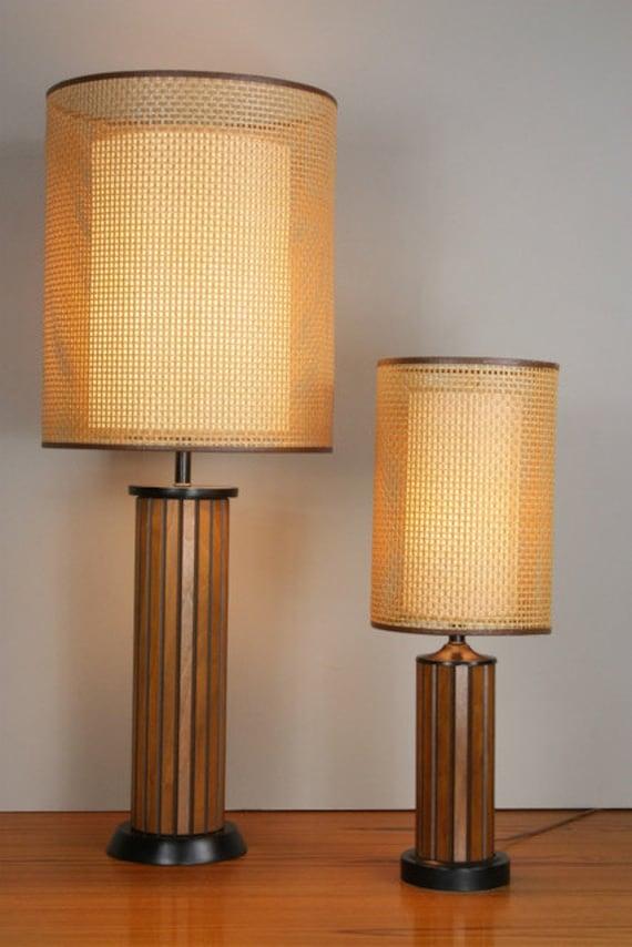 Danish Teak Lamps Pair Hans Wegner Double Shaded Vintage Mcm