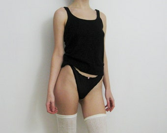 90s Black Wool Knit Tank Small Medium