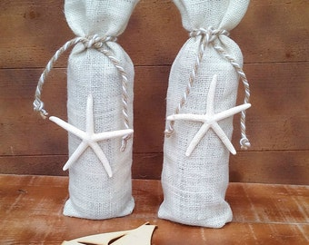 Burlap Wine Bottle Holder - Ivory Burlap Wine Bag - Wine Cozy- Wedding Table Decor - Wine bag - Wine Sack - Wine Bag with Starfish - Qty 3