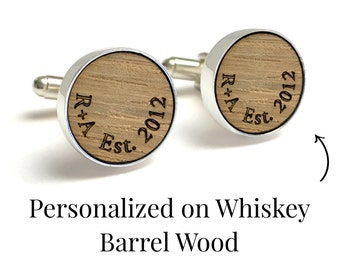 Wedding Cufflinks / Gift for Groom / Personalized with Initials & Date / Reclaimed Whiskey Barrel / Custom Wood Cufflinks / Gift for Husband