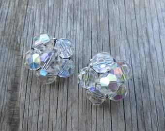 Vintage Aurora Borealis Cluster Rhinestone Clip Silver Earrings
