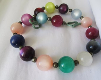 Vintage Chunky Multi Color Moonglow Necklace Choker