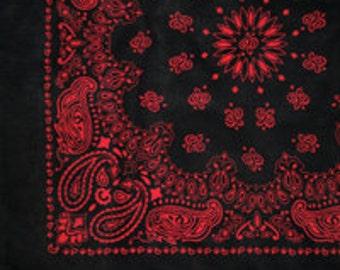 "Bandana - Black and Red Cotton 22"" Square Cowboy Style Paisley Bandana"