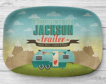 Personalized Fifth Wheel Platter, Personalized Melamine Camper Serving Platter, RV Trailer Platter, Personalized Serving Tray, Camping Decor