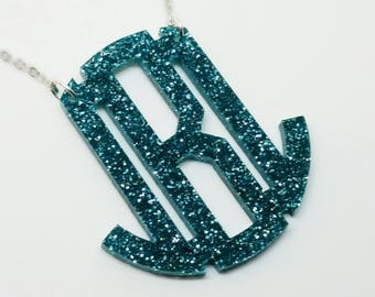 "XL 2.5"" Aqua Glitter Acrylic Monogram Necklace"