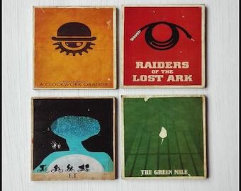 Coasters-retro coasters-retro distressed minimalist coasters-movie coasters-set of 6