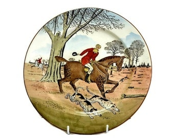 Cauldon England Fox Hunting Plate - Decorative Plate, Wall Plate for Country Home Decor, Antique China Plate Ceramic Equestrian Decor