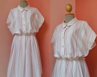 Striped Dress 1980s Dress 80s Dress Day Dress Casual Dresses Summer Dress Vintage Sundress Womens Boho Dress Shirt Dress Cotton Midi Dress