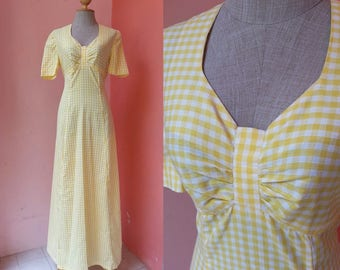 Plaid Dress Hippie Dress Boho Dress 70s Maxi Dress Summer Dress Vintage Day Dress 1970s Dress Yellow Maxi Dress Cotton Dress Short Sleeve