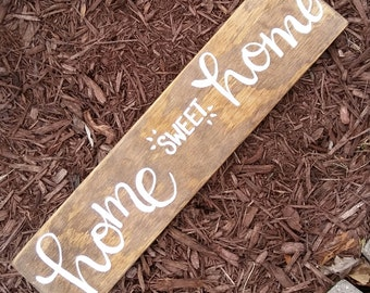 Home sweet home wood sign hand lettered home sweet home sign