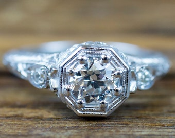 GIA Certified 0.54ct VS1 G All Original 1920's Art Deco Diamond Engagement Ring, 14k White Gold