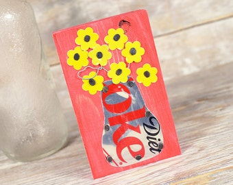 Diet Coke Mini Soda Can Art Vase with Yellow Flowers