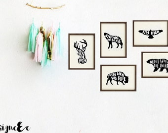 Quote Print - Set of 5 - Forest Animal Theme Nursrey Prints (5th print free)