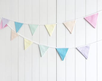 Mini Rainbow Candy Stripe Bunting - Nursery Bunting - Garden Bunting - Birthday Party Bunting - Pastel Rainbow - Party Flags Banner Garland