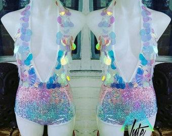 Ravr Bodysuit Unicorn Bodysuit Holographic Sequin Deep Plunge halter bodysuit