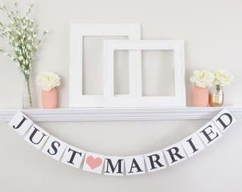 Just Married Banner - Coral Wedding Decorations - Just Married Photo Prop - Wedding Photo Prop