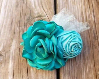 Green Hair Clip, Green Headband, Hair Accessory, Girls Accessory, Baby Headband, Flower Headband, Spring Flower, Baby Clip, Flower Hair Clip