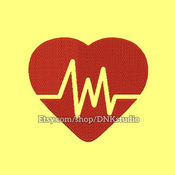 Heart beat rate embroidery design sizes instant download