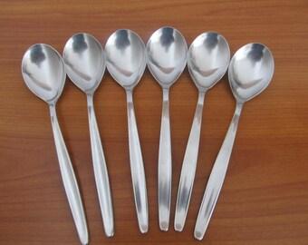 """Set of Six Vintage WMF Cromargan Germany Laurel Flatware Cutlery Tablespoons 7 1/4"""""""