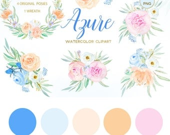 Azure Blue, blush pink. Peach and Rose clipart palette Digital clip art. Soft pink wreath , header, flowers. Wedding invitations. Peonies.
