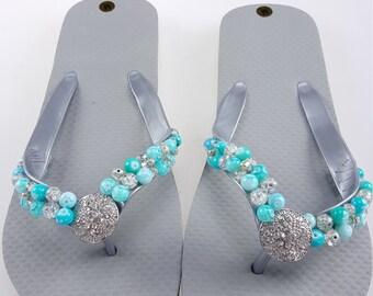 Womens silver beaded flip flops