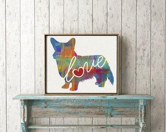 Cardigan Welsh Corgi Love - A Colorful Watercolor Print - Gift for Dog Lovers - Pet Artwork - Pet Loss Gift - Memorial - Can be Personalized