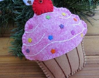 Wool Felt Large Pixie Pink Cupcake Ornament Hanger