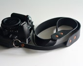 Horween leather camera strap / adjustable camera strap - fixed length (Black)