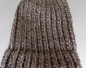 Knit Hat Newborn size Sock Monkey Brown 100 percent Cotton yarn