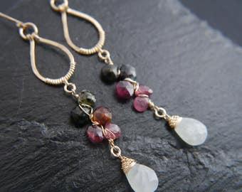Aquamarine Earrings, Tourmaline Earrings, Gold Filled Earrings, Gemstone Earrings, Wedding Earrings, Boho Wedding, Bohemian Jewelry, Flower
