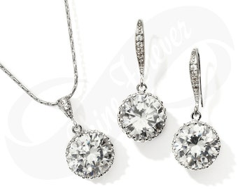 Round Crystal Earrings and Necklace Set for Bridesmaid Cubic Zirconia Jewelry Set Wedding Silver Tone Jewelry
