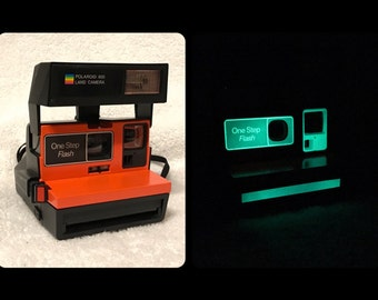 Upcycled Orange and Glowing Polaroid Sun 600 OneStep - Cleaned and Tested