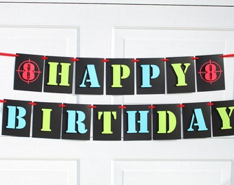 Laser Tag, Camo Happy Birthday Banner with Personalized Name, Paintball Birthday Banner