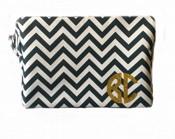 Chevron Cosmetic Bag with GLITTER monogram, bridesmaid gifts, wedding favors