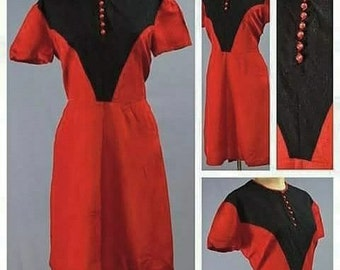 AS IS Late 1930s/40s Black and Red Rayon Tea Dress!