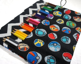 Pokemon Pencil Case, Roll Up Pencil case, PokemonGo Gift
