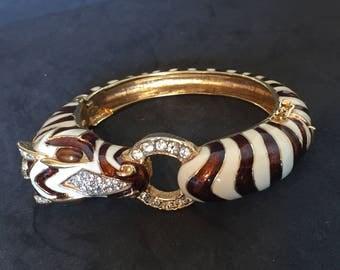 Ciner Enamel white and brown Zebra bracelet