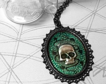 Green Vine Skull : hand embossed repoussé metal pendant necklace