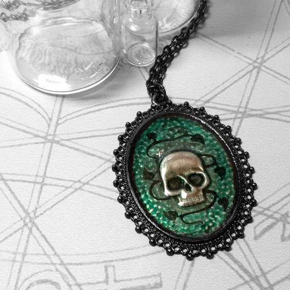 Green Vine Skull : hand embossed repoussé metal pendant necklace