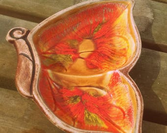 Vintage 60's bohemian ceramic faux wood butterfly dish yellow orange green swirls Santa anita ware California Pottery