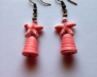 Paper beads with a Star fish fimo bead Earrings. #1917