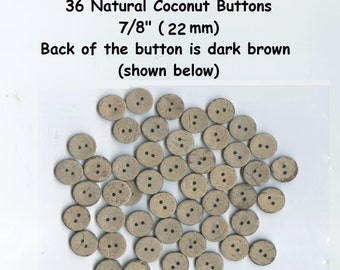 """36 Coconut 7/8"""" Natural Vegan Shell Buttons  2 hole (22mm) brown tan very durable"""