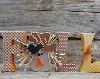 Fall Decor- Autumn Decor-Scarecrow Decor-Seasonal Decor-Fall Letters with Scarecrow