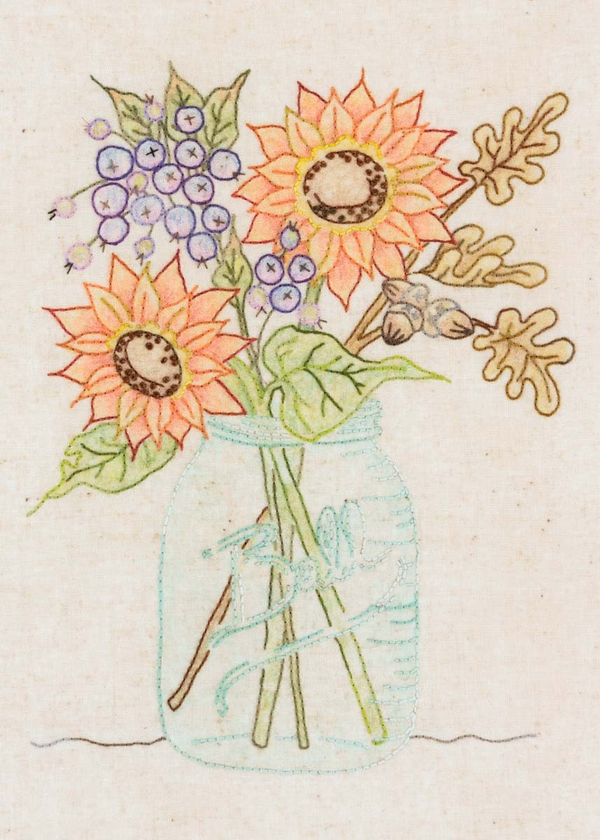 Crabapple Hill Sunflower Jar Pattern Amp Cosmos Thread Kit