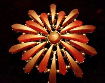 Stunning, vintage 50's, large, gold tone, bright orange and mocha, thermoset lucite, flower brooch!