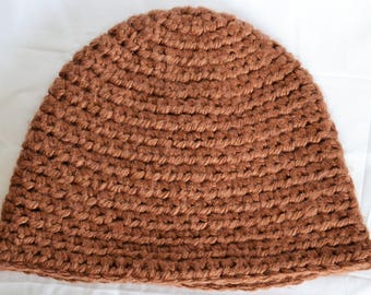 crochet hat, crochet beanie, brown women's hat, winter hat, men's crochet hat