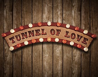 Tunnel of Love Fairground Sign (Relic // Patina // Fun Fair Sign & Light // Vintage themed // Wedding // Distressed // Home lighting)