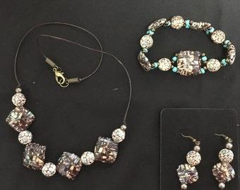 Jewelry , Paper Bead Jewelry  , Necklace Set  , Bracelt  , Earrings , Brown n Turquoise