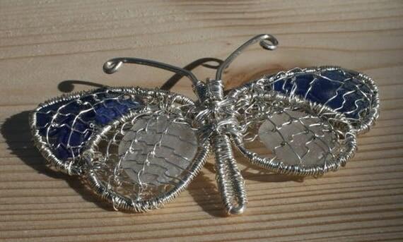 BLUE & WHITE BUTTERFLY - Sea glass brooch