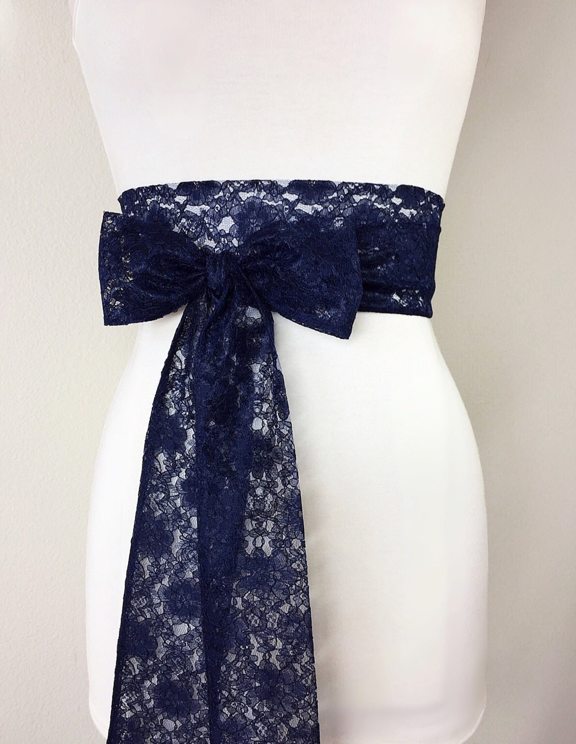 Navy lace sash navy blue lace sash extra long wedding dress for Blue sash for wedding dress